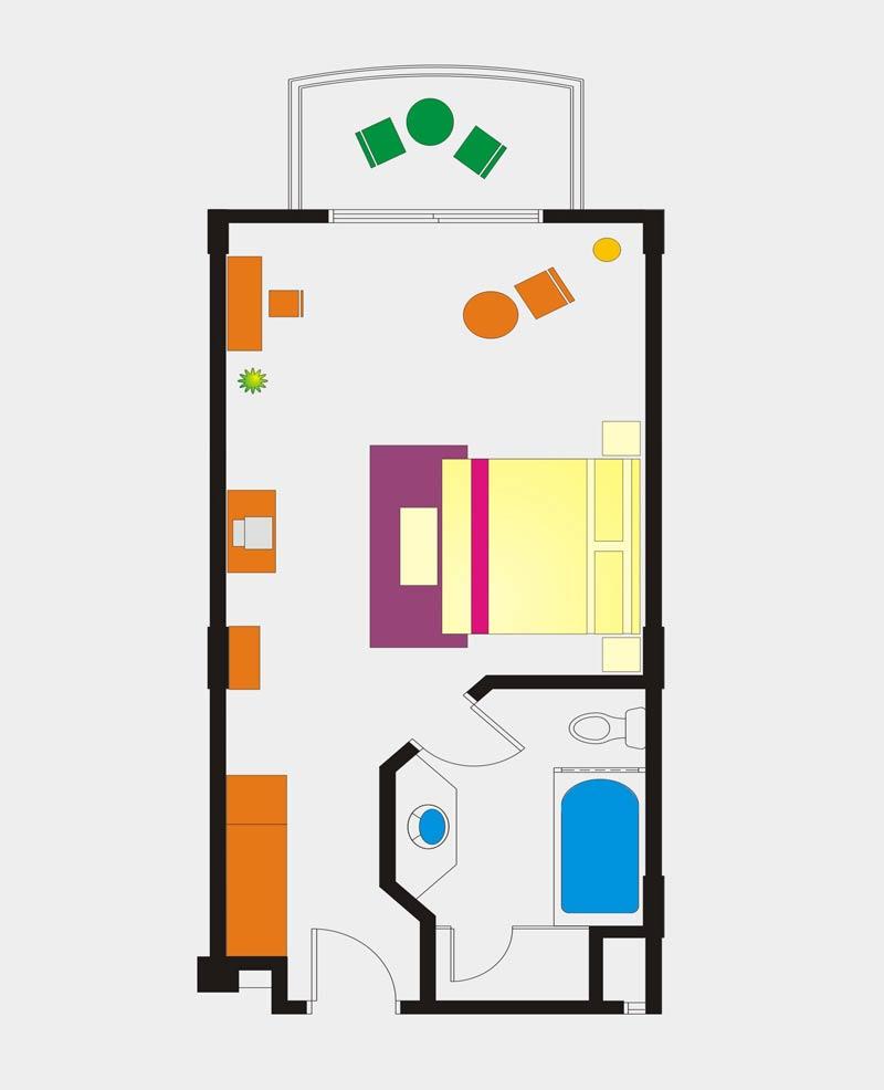Deluxe Pool View room floor Plan