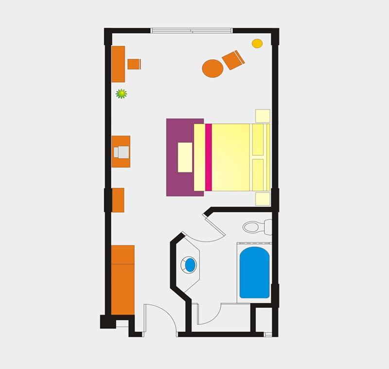 Deluxe city view room floor Plan