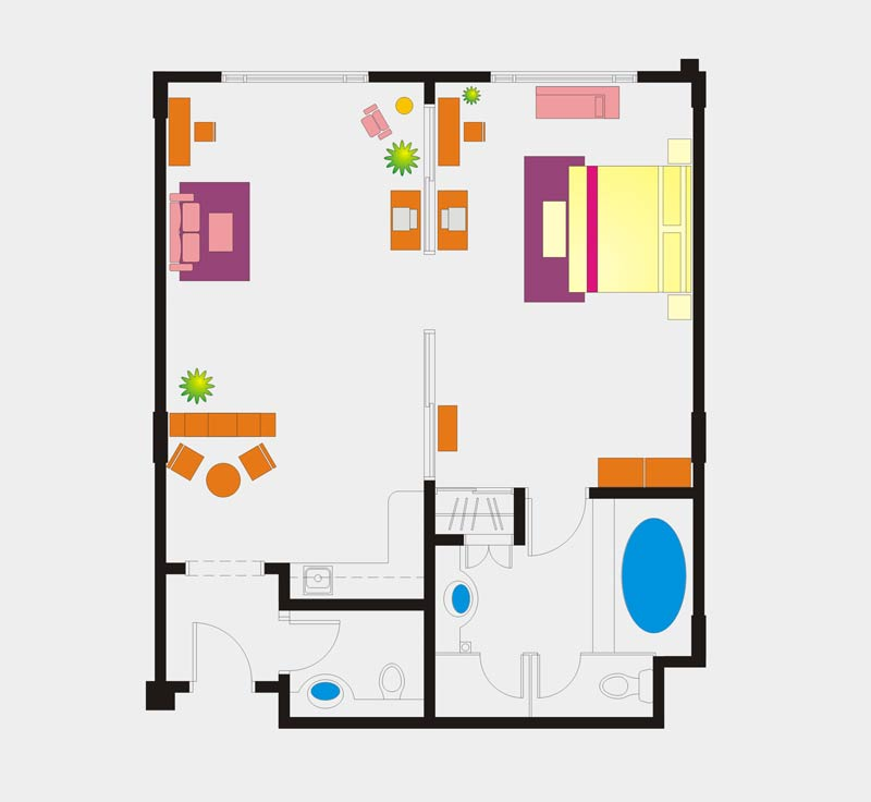 Junior Suite room floor Plan